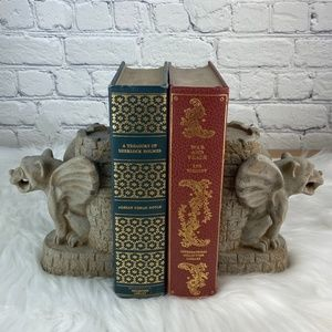 Pair of Stone Guardian Gothic Gargoyle Bookends